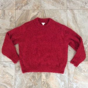 H&M Red Metallic Pullover Sweater
